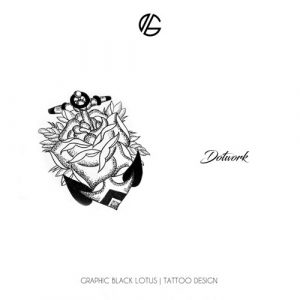dotwork-anchor-rose-tattoo-design