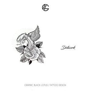 dotwork-snake-rose-tattoo-design