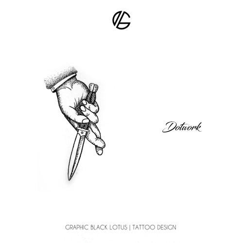 dotwork-hand-cross-finger-knife-tattoo-design