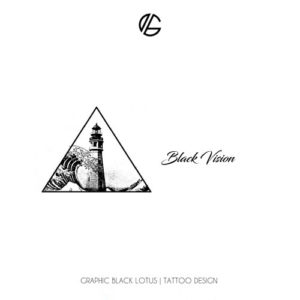 wave-light-house-black-vision-tattoo-design